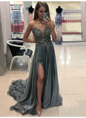 2020 Gorgeous Sheath/Column Sweetheart Strapless Split-Front Applique Beaded Chiffon Prom Dresses With Train