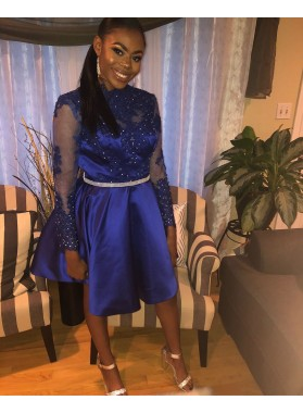 2021 A-Line/Pricess Jewel Neck Long Sleeve  Applique Beading Knee-Length Satin Short/Mini Homecoming Dresses