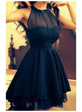 2021 A-Line/Princess Halter Sleeveless Tiers Short/Mini Chiffon Homecoming Dresses