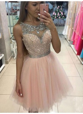 2021 A-Line/Princess Scoop Bateau Sleeveless Sequins Beading Tulle Short/Mini Homecoming Dresses
