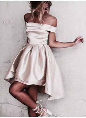 2021 A-Line/Pricess Off-The-Shoulder Knee-Length Satin Short/Mini Homecoming Dresses