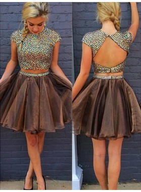 2021 A-Line/Princess Two Piece Jewel Neck Short Sleeve Beading Back Cut Out Organza Short/Mini Homecoming Dresses