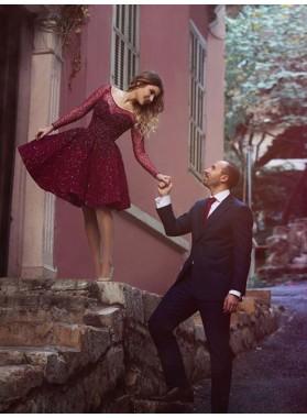 2021 A-Line/Princess Scoop Neck Long Sleeve Beading Knee-Length Short/Mini Homecoming Dresses