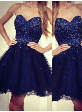 2021 A-Line/Princess Sweetheart Strapless Sleeveless Beading Lace Short/Mini Homecoming Dresses