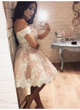 2021 A-Line/Princess Off-The-Shoulder Applique Tulle Short/Mini Homecoming Dresses