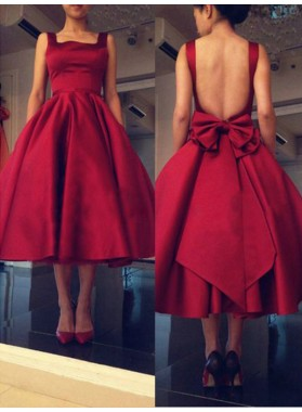 2021 Ball Gown Square Neck Sleeveless Backless Bowknot Tea-Length Homecoming Dresses