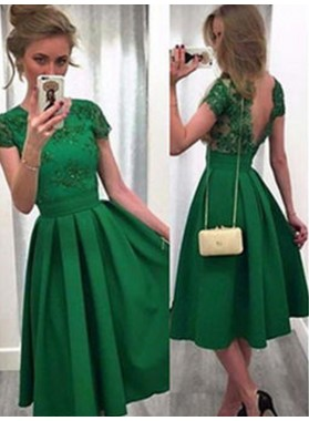 2021 A-Line/Princess Scoop Neck Short Sleeve V Back Lace Satin Tea-Length Homecoming Dresses