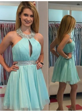 2021 A-Line/Princess Halter Sleeveless Cut Out Beading Sash/Ribbon/Belt Chiffon Cut Short/Mini Homecoming Dresses