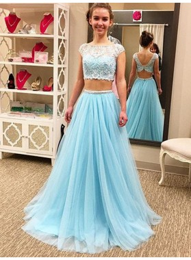A Line Bateau Blue Tulle Two Pieces Cap Sleeve Lace Prom Dresses 2020