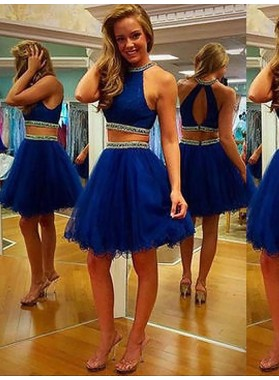A-Line Princess Sleeveless Halter Beading Tulle Short Two Piece Homecoming Dresses