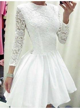 2021 A-Line/Princess Jewel Neck Long Sleeve Lace Cut Short/Mini Homecoming Dresses