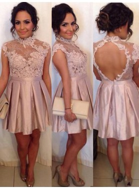 2021 A-Line/Princess High Neck Sleeveless Applique Cut Out Pleated Satin Cut Short/Mini Homecoming Dresses