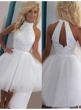 2021 Ball Gown Halter Sleeveless Cut Out Beading Tulle Short/Mini Homecomimg Dresses