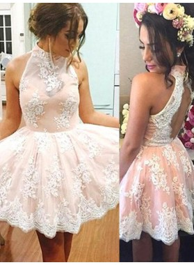 2021 A-Line/Princess Halter Sleeveless Applique Cut Out Tulle Cut Short/Mini Homecoming Dresses