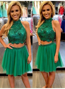 2021 A-Line/Princess Halter Sleeveless Two Piece Beading Tulle Short/Mini Homecoming Dresses