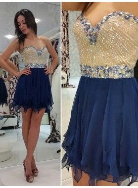 2021 A-Line/Princess Sweetheart Sleeveless Beading Chiffon Cut Short/Mini Homecoming Dresses