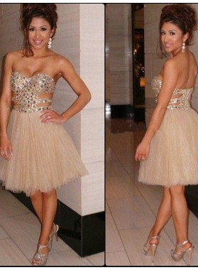 2021 A-Line/Princess Sweetheart Sleeveless Beading Tulle Short/Mini Homecoming Dresses
