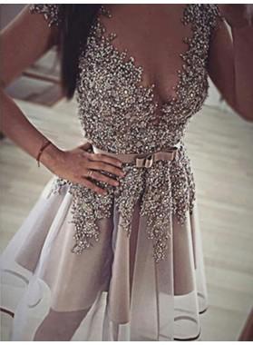 2021 A-Line/Princess V Neck Sleeveless Bowknot Beading Organza Cut Short/Mini Homecoming Dresses