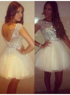 2021 Ball Gown Scoop Neck Cap Sleeve V Back Beading Tulle Cut Short/Mini Homecoming Dresses