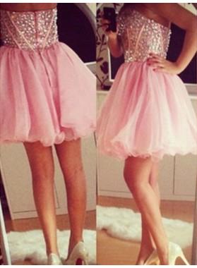 2021 Ball Gown Sweetheart Sleeveless Beading Organza Cut Short/Mini Homecoming Dresses