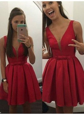 2021 Ball Gown V Neck Sleeveless Bowknot Pleated Cut Short/Mini Homecoming Dresses