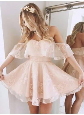 2021 A-Line/Princess Off-The-Shoulder Ruffle Lace Cut Short/Mini Homecoming Dresses
