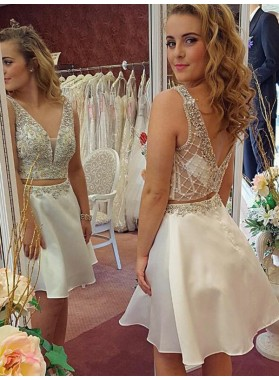 2021 A-Line/Princess V Neck V Back Sleeveless Beading Two Piece Cut Short/Mini Homecoming Dresses