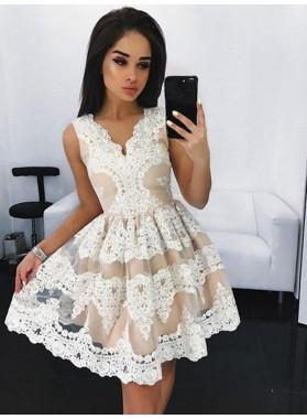 2021 A-Line/Princess V Neck Sleeveless Applique Cut Short/Mini Homecoming Dresses