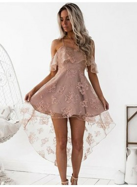 2021 A-Line/Princess Straps Criss Cross Off-The-Shoulder High Low Lace Cut Short/Mini Homecoming Dresses