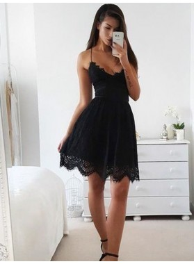 2021 A-Line/Princess V Neck Spaghetti Straps Criss Cross Cut Short/Mini Homecoming Dresses