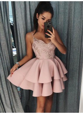 2021 Ball Gown V Neck Sleeveless Spaghetti Straps Beading Layers Cut Short/Mini Homecoming Dresses