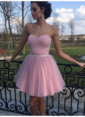 2021 A-Line/Princess Sweetheart Sleeveless Beading Tulle Cut Short/Mini Homecoming Dresses