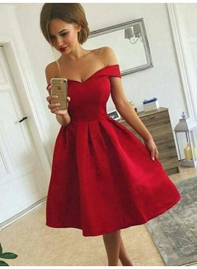 2021 Ball Gown Sweetheart Off-The-Shoulder Pleated  Knee-Length Homecoming Dresses
