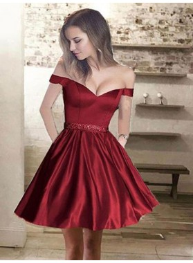 2021 A-Line/Princess Sweetheart Off-The-Shoulder Beading Satin Cut Short/Mini Homecoming Dresses
