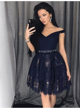 2021 Ball Gown Sweetheart Off-The-Shoulder Beading Lace Cut Short/Mini Homecoming Dresses