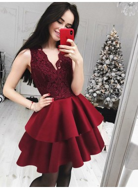 2021 Ball Gown V Neck Sleeveless Layers Lace Cut Short/Mini Homecoming Dresses