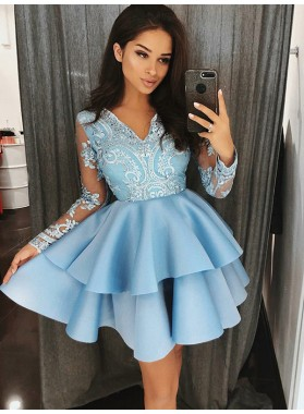 2021 Ball Gown V Neck Long Sleeve Applique Beading Layers Cut Short/Mini Homecoming Dresses