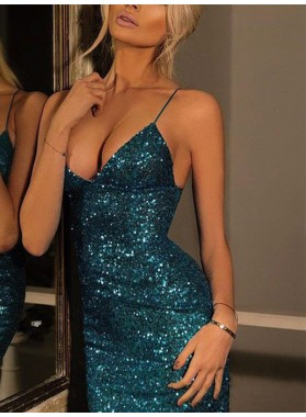 2019 Sheath/Column Spaghetti Straps Sleeveless Sequin Homecoming Dresses