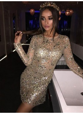 2019 Sparkling Sheath/Column Scoop Neck Long Sleeve Beading Cut Short/Mini Homecoming Dresses