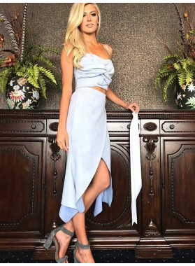 2019 Sheath/Column Two Piece Spaghetti Straps Split-Front Tea Length Homecoming Dresses