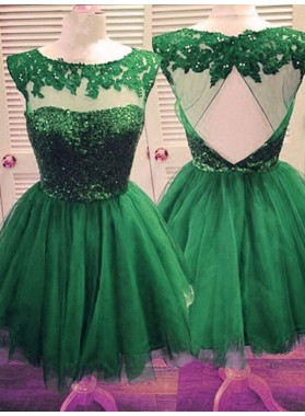 2020 Ball Gown Scoop Neck Sleeveless Cut Out Back Applique Beading Tulle Cut Short/Mini Homecoming Dresses