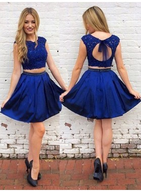 2020 A-Line/Princess Two Piece Scoop Neck Cap Sleeve Cut Out Back Beading Short/Mini Homecoming Dresses