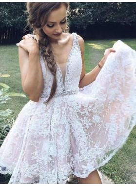 2020 A-Line/Princess V Neck Sleeveless Applique Beading Cut Short/Mini Homecoming Dresses