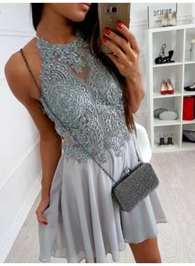 2020 A-Line/Princess Halter Sleeveless Applique Beading Criss Cross Chiffon Cut Short/Mini Homecoming Dresses