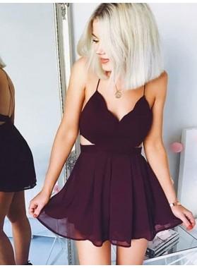 2021 A-Line/Princess V Neck Spaghetti Straps Sleeveless Criss Cross Cut Short Chiffon Min Homecoming Dresses