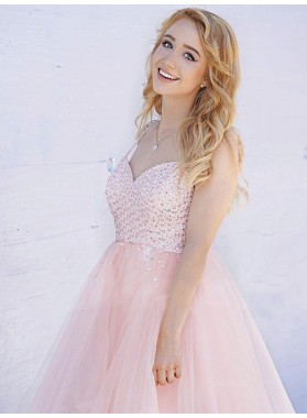 2021 A-Line/Princess Sweetheart Sleeveless Beading Tulle Homecoming Dresses