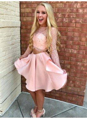 2021 A-Line/Princess Bateau Neck Long Sleeve Lace Satin Pleated Two Piece Knee-Length Homecoming Dresses