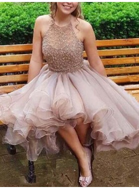 2021 Ball Gown Halter Sleeveless Beading Organza Layers Homecoming Dresses
