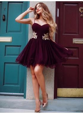 2020 A-Line/Princess Sweetheart Spaghetti Straps Applique Organza Cut Short/Mini Homecoming Dresses