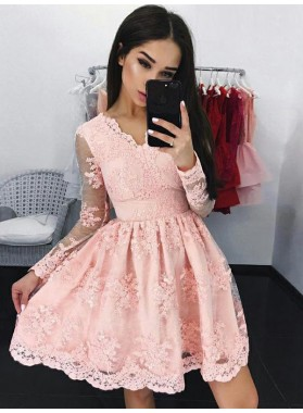 2021 A-Line/Princess V Neck Long Sleeve Applique Lace Pleated Cut Short/Mini Homecoming Dresses